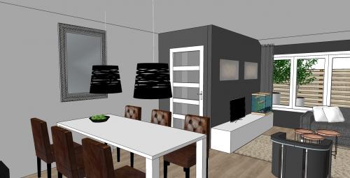 Industrieel woonkamer raambekleding for Landelijk interieur woonkamer